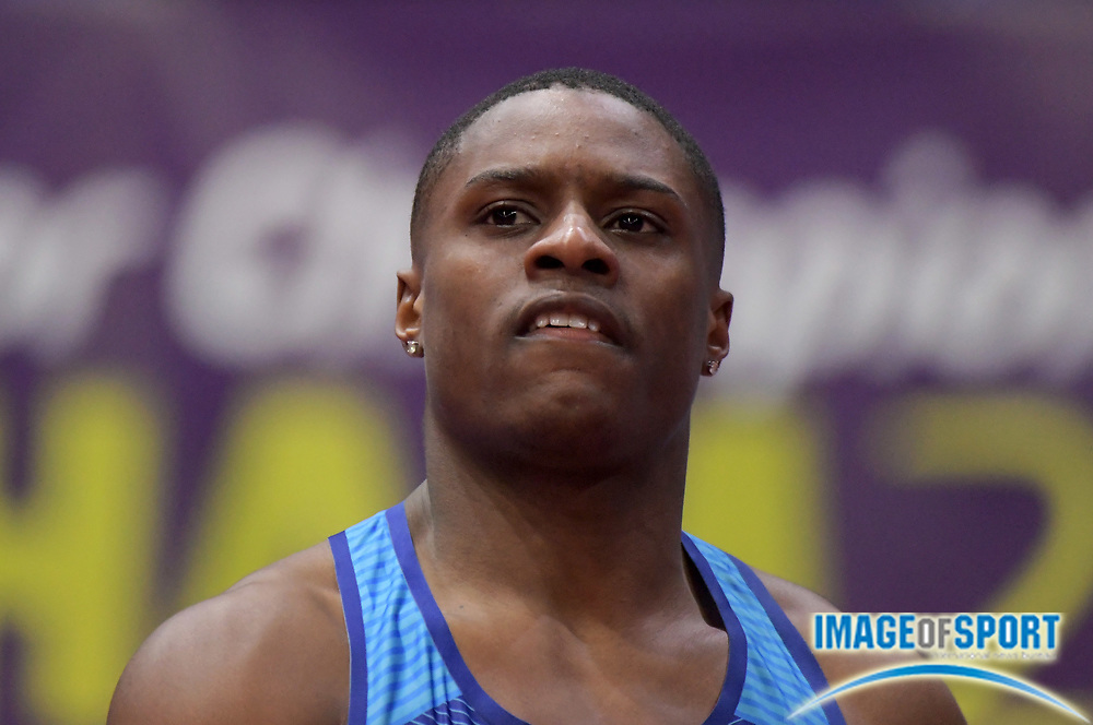 Mar 3, 2018; Birmingham, United Kingdom; Christian Coleman (USA) reacts after winning 60m heat in 6.71 during the IAAF World Indoor Championships at Arena Birmingham.