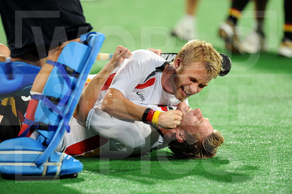 Beijing Olympic Green Hockey Stadium - Hockey.Hockey final.Germany vs Spain 1-0.Gold medal for Germany.photo: Germany celebrating after the match..Maximilian Müller and Philip Witte (U).photo:wsp/Frank Uijlenbroek.