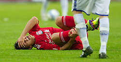 MOLDE, NORWAY - Wednesday, September 7, 2011: Liverpool's 'Suso' Jesus Fernandez Saez lies down injured against Molde during the second NextGen Series Group 2 match at Aker Stadion. (Photo by Vegard Grott/Propaganda)