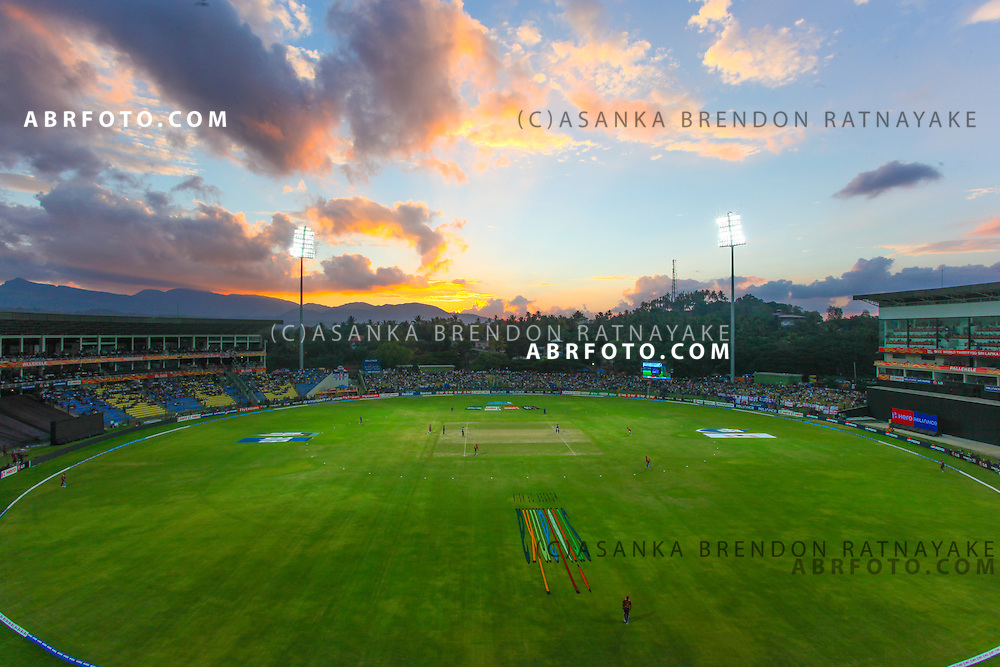 View of Pallekelle cricket ground in Kandy from teh scoreboard during the ICC world Twenty20 Cricket held in Sri Lanka.