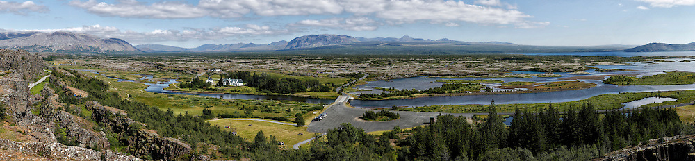 A scenic, panoramic valley view of The Pingvellir National Park, Iceland