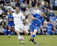 Photo: Marc Atkins.<br /> <br /> Peterborough United v Wycombe Wanderers. Coca Cola League 2. 06/05/2006. David Farrell (R) of Peterborough shoots wide wathed by Wycombe's Clint Easton.