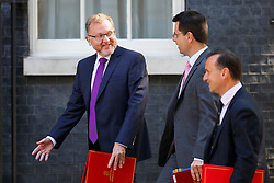 © Licensed to London News Pictures. 19/07/2016. London, UK. Scottish Secretary DAVID MUNDELL, Northern Ireland Secretary JAMES BROKENHIRE and Welsh Secretary ALUN CAIRNS attending the first cabinet meeting under Theresa May's leadership in Downing Street on Tuesday, 19 July 2016. Photo credit: Tolga Akmen/LNP