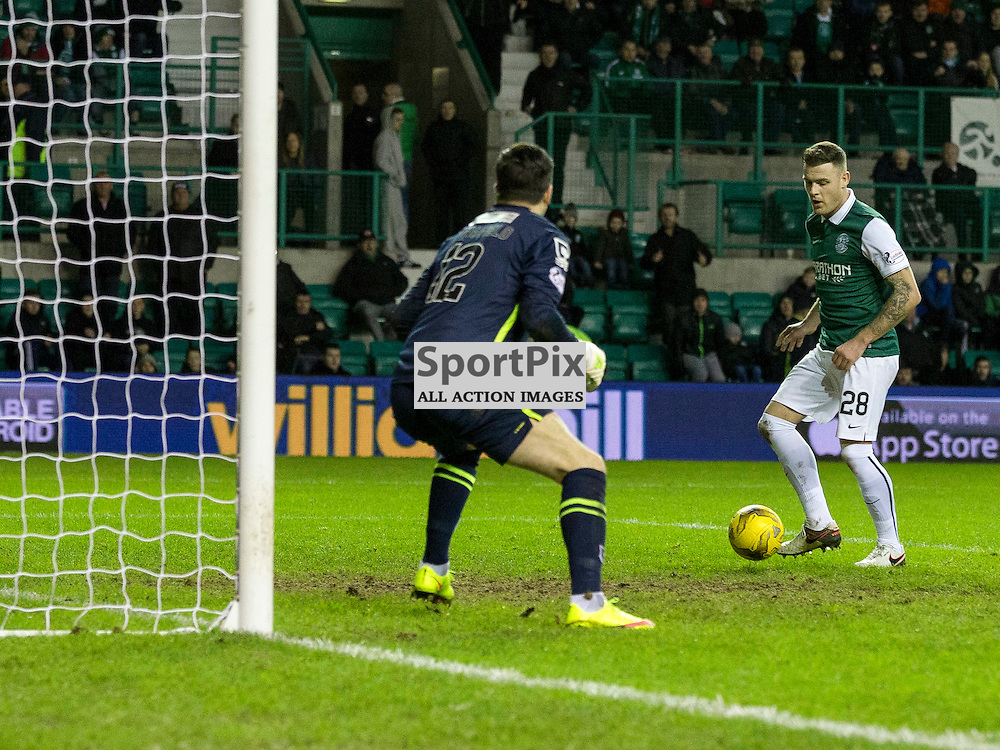 Hibernian FC v St Mirren FC <br /> <br /> Anthony Stokes (Hibernian) scores on his comeback to Hibs during the SPFL Championship match between Hibernian and St Mirren FC at Easter Road Stadium on Saturday 23 January 2016.<br /> <br /> Picture Alan Rennie.