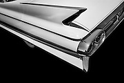 Angled, close up view of a cadillac tail fin.