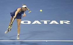 DOHA, Feb. 18, 2018  Caroline Wozniaki of Denmark serves during the single's semifinal match against Petra Kvitova of the Czech Republic at the 2018 WTA Qatar Open in Doha, Qatar, on Feb. 17, 2018. Petra Kvitova won 2-1. (Credit Image: © Nikku/Xinhua via ZUMA Wire)