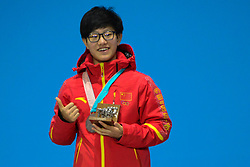 February 18, 2018 - Pyeongchang, South Korea - YANG ZHOU of China celebrates getting the silver medal in the Ladies' 1500m Short Track speed skating event in the PyeongChang Olympic Games. (Credit Image: © Christopher Levy via ZUMA Wire)