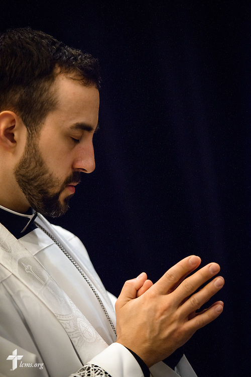 A pastor prays during worship on Friday, Jan. 27, 2017, in Arlington, Va. LCMS Communications/Erik M. Lunsford