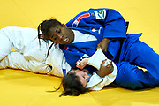 Warsaw, Poland - 2017 April 21: Katarzyna Klys from Poland (white) competes with Marie Eve Gahie from France (blue) in the women&rsquo;s 70kg bronze medal fight during European Judo Championships 2017 at Torwar Hall on April 21, 2017 in Warsaw, Poland.<br /> <br /> Mandatory credit:<br /> Photo by &copy; Adam Nurkiewicz / Mediasport<br /> <br /> Adam Nurkiewicz declares that he has no rights to the image of people at the photographs of his authorship.<br /> <br /> Picture also available in RAW (NEF) or TIFF format on special request.<br /> <br /> Any editorial, commercial or promotional use requires written permission from the author of image.