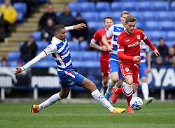 Cardiff City's Conor McAleny skips past Reading's Michael Hector - Photo mandatory by-line: Robbie Stephenson/JMP - Mobile: 07966 386802 - 04/04/2015 - SPORT - Football - Reading - Madejski Stadium - Reading v Cardiff City - Sky Bet Championship