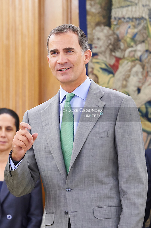 King Felipe VI of Spain attend an audience to the Plenary of the General Council of ONCE Organization at Palacio de la Zarzuela on September 2, 2015 in Madrid