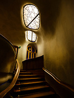 BARCELONA, SPAIN - CIRCA MAY 2018: Interior of Casa Batlló, a famous building in the center of Barcelona designed by Antoni Gaudi. View of the Dragon Stairs.