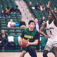 2nd year guard, Brayden Kuski (4) of the Regina Cougars during the Men's Basketball Home Game on Sat Dec 01 at Centre for Kinesiology,Health and Sport. Credit: Arthur Ward/Arthur Images