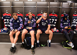 Giorgi Nemsadze, Joe Batley, Sam Graham and Jack Lam of Bristol Rugby relax in the changing rooms prior to the game  - Mandatory by-line: Alex Davidson/JMP - 08/12/2017 - RUGBY - Ashton Gate Stadium - Bristol, England - Bristol Rugby v Leinster 'A' - B&I Cup