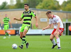 Jordan Thorniley of Accrington Stanley applies pressure on Omar Bugiel of Forest Green Rovers - Mandatory by-line: Nizaam Jones/JMP- 30/09/2017 - FOOTBALL - New Lawn Stadium - Nailsworth, England - Forest Green Rovers v Accrington Stanley - Sky Bet League Two