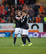 August 9th 2017, Dens Park, Dundee, Scotland; Scottish League Cup Second Round; Dundee versus Dundee United; Scorer of the winning goal for Dundee, Paul McGowan celebrates his goal with Scott Allan