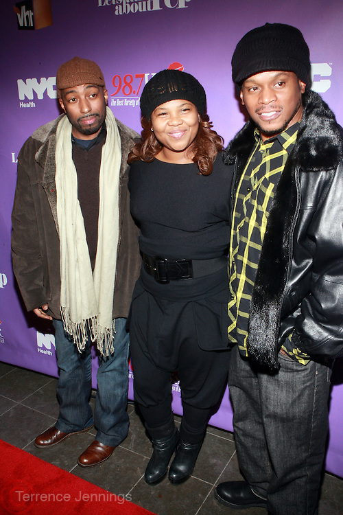 l to r: Rich Nice, Mona Scott and Sway at the Celebration for the Finale episode of the VH1 hit reality show ' Let's talk about Pep held at the Comix Club on March 1, 2010 in New York City.