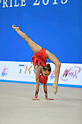 """Averina Arina duringv ball routine at the International Tournament of rhythmic gymnastics """"Città di Pesaro"""", 10 April, 2015. Arina was born on August 13, 1998 in Zavolzhye, Russia. Arina has a twin sister ,Dina is also herself a great gymnast member of the Russian National Team.<br /> This tournament dedicated to the youngest athletes is at the same time of the World Cup."""