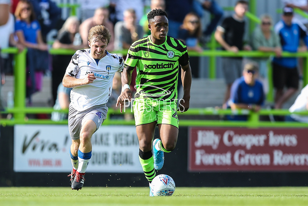 Forest Green Rovers Udoka Godwin-Malife(22) runs forward during the EFL Sky Bet League 2 match between Forest Green Rovers and Colchester United at the New Lawn, Forest Green, United Kingdom on 14 September 2019.