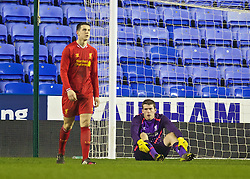READING, ENGLAND - Wednesday, March 12, 2014: Liverpool's goalkeeper Ryan Crump and Jordan Williams look dejected as Reading score the second goal during the FA Youth Cup Quarter-Final match at the Madejski Stadium. (Pic by David Rawcliffe/Propaganda)