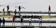 """Seville. SPAIN, 17.02.2007, GV from the """"Puente de la Alamillo""""  [bridge] as the GBR M4- boat to race in the Saturdays final, of the FISA Team Cup, held on the River Guadalquiver course. [Photo Peter Spurrier/Intersport Images] [left to right] Andy TRIGGS HODGE, Matt LANGRIDGE, Peter REED and Steve WILLIAMS   [Mandatory Credit, Peter Spurier/ Intersport Images]. , Rowing Course: Rio Guadalquiver Rowing Course, Seville, SPAIN,"""
