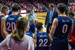 NORMAL, IL - November 06: Bruins time out huddle during a college basketball game between the ISU Redbirds and the Belmont Bruins on November 06 2019 at Redbird Arena in Normal, IL. (Photo by Alan Look)
