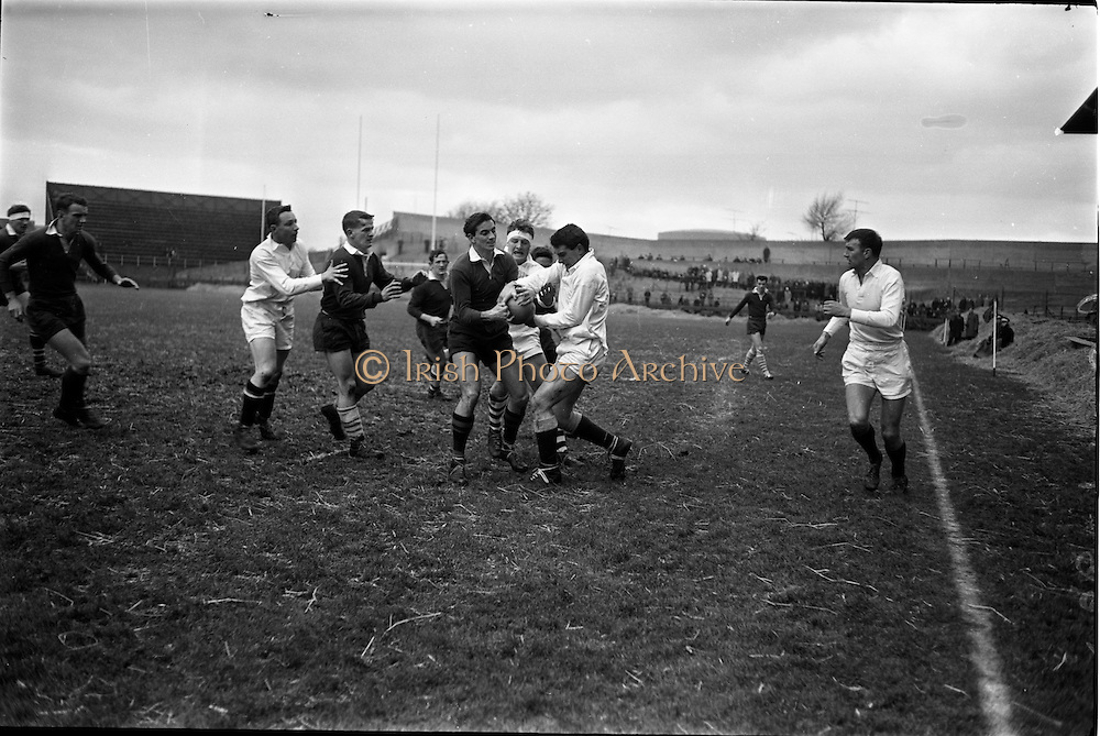 19/01/1963<br /> 01/19/1963<br /> 19 January 1963<br /> International Rugby Trials at Lansdowne Road, Dublin. Marshall (left) disputes possession with English, with Dick looking on.