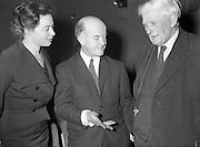 16/11/1959<br /> 11/16/1959<br /> 16 November 1959<br /> Siobhan McKenna at Damer Hall, Dublin. Picture shows (l-r): Siobhan McKenna; Author Pronsias MacDearmada and An t-Ollamh Liam O'Brien.