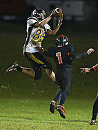 Midland's Seth Groth (85) pulls in a touchdown reception as Springville's Brian Allsup (1) defends during their game at Allison Field in Springville on Friday October 19, 2012. Midland defeated Springville 30-29.