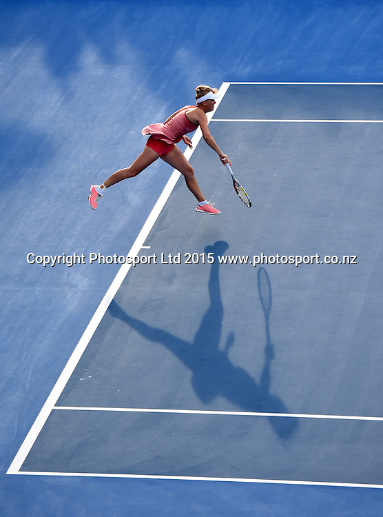 Denmark's Caroline Wozniacki on centre court during her second round singles match on Day 3 at the ASB Classic WTA International. Auckland, New Zealand. Wednesday 7 January 2015. Copyright photo: Andrew Cornaga/www.photosport.co.nz