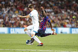 September 18, 2018 - Barcelona, Catalonia, Spain - FC Barcelona forward Ousmane Dembele (11) goal action during the UEFA Champions League match between FC Barcelona and PSV Eindhoven at Camp Nou Stadium corresponding of matchday 1, group B on September 18, 2018 in Barcelona, Spain. (Credit Image: © Mikel Trigueros/NurPhoto/ZUMA Press)