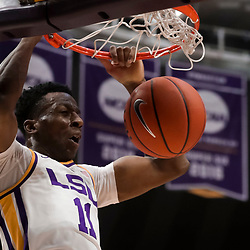 Jan 19, 2019; Baton Rouge, LA, USA; LSU Tigers forward Kavell Bigby-Williams (11) dunks against the South Carolina Gamecocks during the first half at the Maravich Assembly Center. Mandatory Credit: Derick E. Hingle-USA TODAY Sports