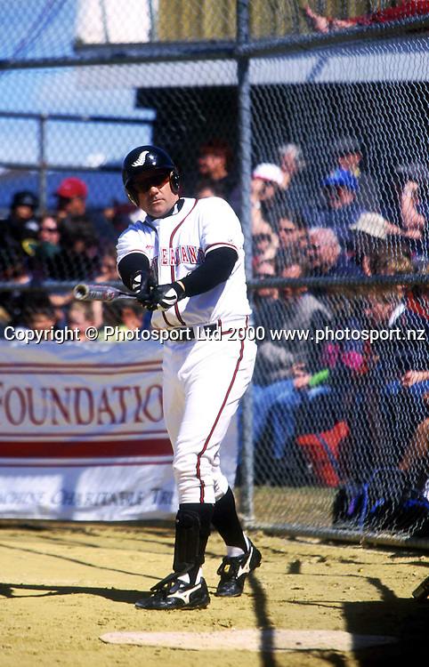 Mark Sorenson warming up - New Zealand Black Sox v Australia, Softball in Invercargill, 25 November 2000. Photo: Sandra Teddy/Photosport.co.nz