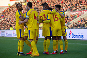 Goal Crystal Palace celebrate as Crystal Palace defender Jeffrey Schlupp (15) scores a goal 0-1 during the The FA Cup 5th round match between Doncaster Rovers and Crystal Palace at the Keepmoat Stadium, Doncaster, England on 17 February 2019.