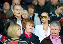 LIVERPOOL, ENGLAND - Sunday, April 11, 2010: Liverpool's Martin Skrtel and his girlfriend during the Premiership match against Fulham at Anfield. (Photo by: David Rawcliffe/Propaganda)