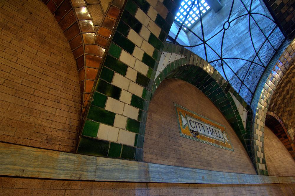 Abandoned City Hall subway station. High-Definition Range (HDR) tonemapped image.