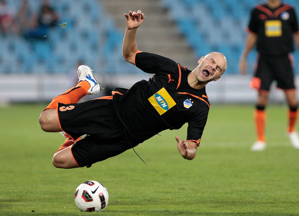 Apoel's Paulo Jorge from Portugal, reacts during his UEFA Europa League soccer match against Getafe at the Coliseum Alfonso Perez Stadium in Getafe, Spain, Thursday, Aug. 19, 2010.