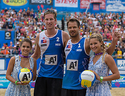 02.08.2015, Strandbad, Klagenfurt, AUT, A1 Beachvolleyball EM 2015, kleines Finale Herren, im Bild Reinder Nummerdor 1 NED / Christiaan Varenhorst 2 NED // during 3rd Place Match Men, of the A1 Beachvolleyball European Championship at the Strandbad Klagenfurt, Austria on 2015/08/02. EXPA Pictures © 2015, EXPA Pictures © 2015, PhotoCredit: EXPA/ Mag. Gert Steinthaler