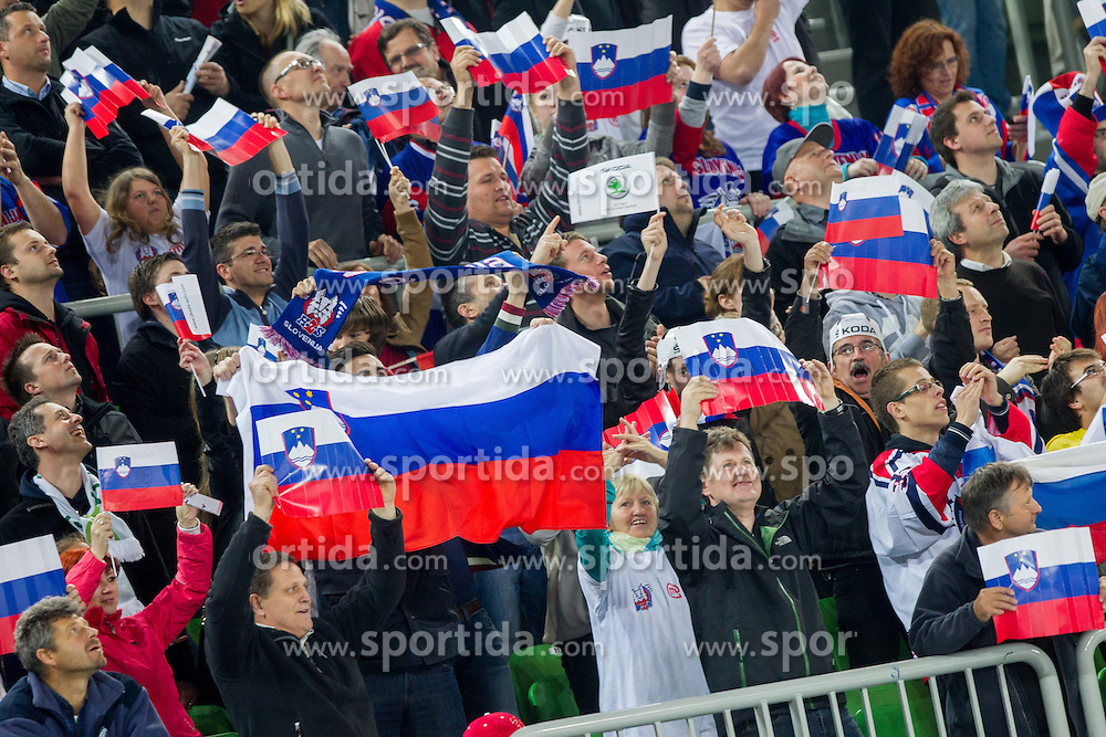 Supporters of Slovenia during ice-hockey match between Slovenia and Japan at IIHF World Championship DIV. I Group A Slovenia 2012, on April 16, 2012 in Arena Stozice, Ljubljana, Slovenia. Slovenia defeated Japan 4-2. (Photo by Vid Ponikvar / Sportida.com)