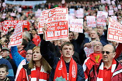 Liverpool fans hold up anti-Sun newspaper sheets before the Budweiser FA Cup semi final match between Liverpool and Everton at Wembley on Saturday 14 April 2012 (Photo by Rob Munro)