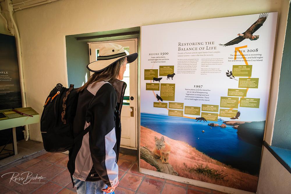 Interpretive display at the Scorpion Ranch visitor center, Santa Cruz Island, Channel Islands National Park, California USA