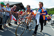 2011 Tour de Suisse - Rabobank's Steven Kruijswijk (finished 3rd overall) crosses the line after stage 6's 1200m hilltop climbing finish to the ski-resort town of Malbun.