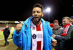 Nathan Arnold of Lincoln City celebrates at full time after scoring the winning goal against Ipswich Town - Mandatory by-line: Robbie Stephenson/JMP - 17/01/2017 - FOOTBALL - Sincil Bank Stadium - Lincoln, England - Lincoln City v Ipswich Town - Emirates FA Cup third round replay