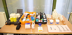 BRUSSELS, BELGIUM - Sunday, November 16, 2014: The medical table in the dressing room before the UEFA Euro 2016 Qualifying Group B game against Belgium at the King Baudouin [Heysel] Stadium. (Pic by David Rawcliffe/Propaganda)