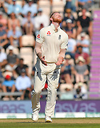Ben Stokes of England reacts after Hardik Pandya of India plays and misses during the 4th day of the 4th SpecSavers International Test Match 2018 match between England and India at the Ageas Bowl, Southampton, United Kingdom on 2 September 2018.