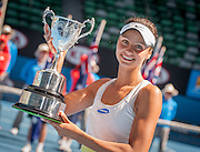 Elizaveta Kulichkova of Russia with her championship trophy after she dominated Jana Fett of Croatia in the Australian Open Junior Girl's Open Singles Final in Melbourne's Rod Laver Arena. Kulichkova won the match 6-2, 6-1.
