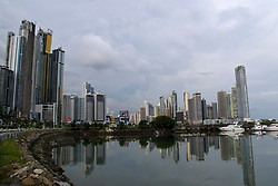 General view of sky scrapers / skyline with bay / water view, Panama City, Panama
