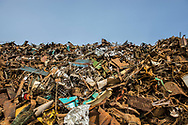 Scrap metal waiting to be recycled in British Columbia, Canada.