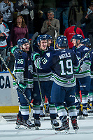 KELOWNA, CANADA - APRIL 30: Nolan Volcan #26, Mathew Barzal #13 and Donovan Neuls #19 of the Seattle Thunderbirds celebrate the series ending game 6 win against the Kelowna Rockets on April 30, 2017 at Prospera Place in Kelowna, British Columbia, Canada.  (Photo by Marissa Baecker/Shoot the Breeze)  *** Local Caption ***