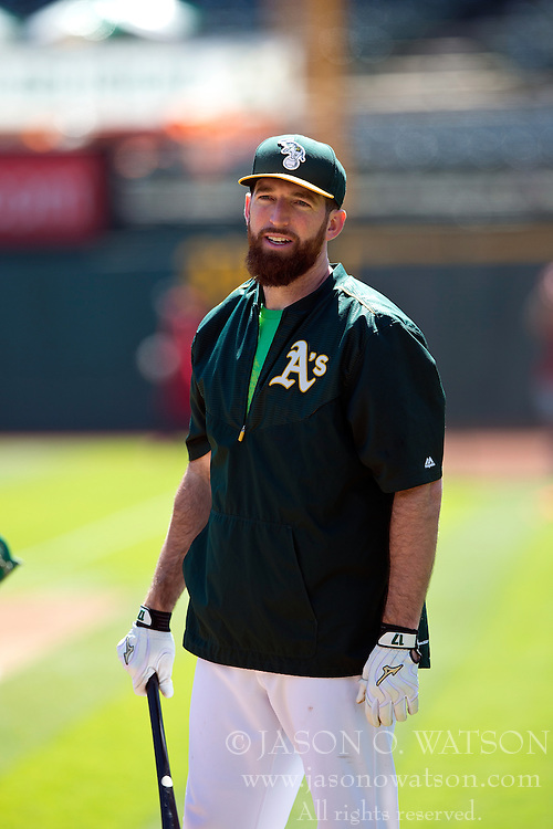 OAKLAND, CA - JUNE 21:  Ike Davis #17 of the Oakland Athletics stands on the field during batting practice before the game against the Los Angeles Angels of Anaheim at O.co Coliseum on June 21, 2015 in Oakland, California. The Oakland Athletics defeated the Los Angeles Angels of Anaheim 3-2. (Photo by Jason O. Watson/Getty Images) *** Local Caption *** Ike Davis